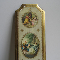 Vintage Italian Florentine Wall Art Plaque, Three Portrait Series,  Ornate Gilded Italy