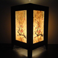 Asian Oriental Japanese Cherry Blossom Tree Art Bedside Desk Table Lamp or Bedside Paper Light Shades Furniture Home Decor