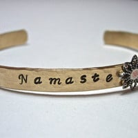 NAMASTE  Inspirational Hand Hammered and Stamped Brass Bracelet Bangle Cuff