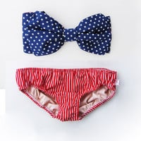 Vintage Bow Bikini Bandeau Sunsuit. DiVa Halter Neck.Miss USA Stars Bikini Top Red  White Stripe Panties.Sunbathing Sexy Cute Bra Pin up.