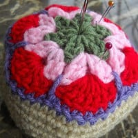 Handmade Crochet African Violet Flower Pincushion Custom Made