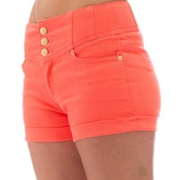 Classic Designs Juniors High Waisted 5 Pocket Stretch Cotton Short Shorts