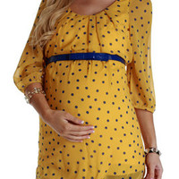 Yellow-Polka-Dot-Belted-Maternity-Tunic
