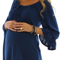 Teal-Flowy-Maternity-Top