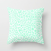 Mint Leopard Throw Pillow by MN Art