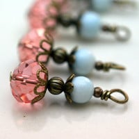 Dangle Charm Drop Set in Pink Crystal Rondelles and Pale Blue Jade