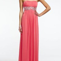 Strapless Empire Beaded Empire Waist Prom Dress - David&#x27;s Bridal- mobile