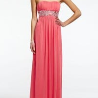 Strapless Empire Beaded Empire Waist Prom Dress - David's Bridal - mobile