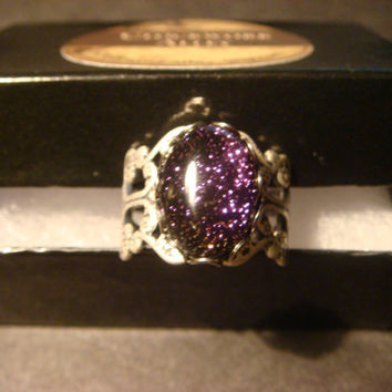Dichroic Glass Antique Silver Ring- Adjustable (1014)