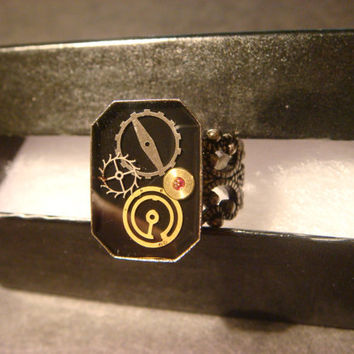 Steampunk Ring with TinyWatch Parts in Antique Silver (1018)