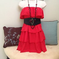 Women Sexy Strapless Red Clubwear Mini Dress-M-Semi Formal LOVE CULTURE
