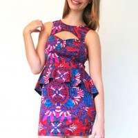 Printed Peplum Mini Dress with Cutout Sweetheart Neckline