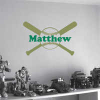 Personalized Wall Decal Baseball Bat with Name Sports Monogram Boys Girls Room Wall Decor Vinyl Wall Art Sticker