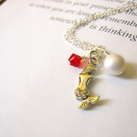 Mermaid Necklace with red swarovski &amp; pearl - Bridesmaids jewelry in Beach Wedding - Nautical gift