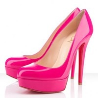 Chrsitian Louboutin Bianca 140mm Patent Leather Pink Pumps