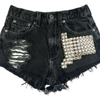 Boson Silver short studded black cutoff shorts