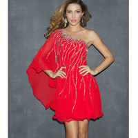 Red Sequin &amp; Chiffon One Shoulder Prom Dress - Unique Vintage - Prom dresses, retro dresses, retro swimsuits.