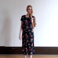 black floral dress / floral print dress / 90s dress / short sleeved dress