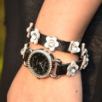 Handmade Diamond in Flower Leather Wrap Watch