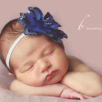 Blue flower baby newborn headband  photo by PinkLeopardBowtique