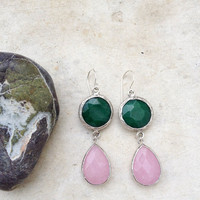 everyday jewelry fashion long  DUAL pastel girly pink drop & forest green jade stones gemstone earrings textured matte silver Israel jewelry