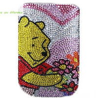 Free shipping iphone 4 case , iphone 4s case , case for Iphone 4 mobile Case handmade: Leather diamond Winnie the Pooh i89048523 (custom are welcome)