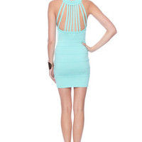 Caged Collar Bandage Dress in Mint :: tobi