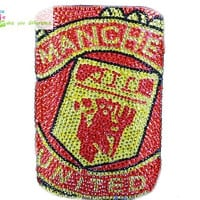 Free shipping iphone 4 case , iphone 4s case , case for Iphone 4 mobile Case handmade: leather diamond Manchester United i89048888 (custom are welcome)
