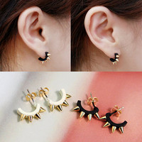Punk golden rivet black and opal earrings