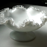 Fenton Crystal Milk Glass, Silver Crest Pattern, Footed Comport, Fruit Sweets Dish