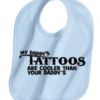 MY DADDYS TATTOOS ARE COOLER BLUE BABY BOY BIB GIFT IDEA INK COOL