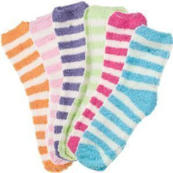 Amazon.com: 6 Pack of Fluffy Cozy Fuzzy Socks - Wide Stripe $39.99 (80-FS220) -: Everything Else