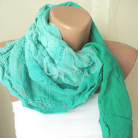 NEW 2012 Spring Model Hand Dyed Green Color Scarf from by Periay