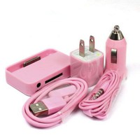 PINK USB Charger + Headset + Dock For iPhone [5001]