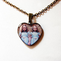 "The Grady Daughters (""The Shining Twins"" or ""The Grady Twins"") From Stanley Kubrick ""The Shining"" - Handmade Vintage Cameo Pendant Necklace"