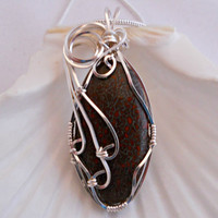 Wire Wrapped Jewelry, Handmade, Dinosaur Bone Pendant Necklace, Brown & Black