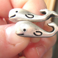 Whale Post Pierced Earrings Pewter Finish Hypo Alleergenic OOAK
