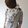 Ruffle Scarf Knit Infinity Scarf Light grey Women Accessories Wedding
