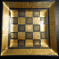 George Briard Square Glass Gold Glass Plate Hollywood Regency
