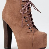 Amazon.com: Breckelle's BRITNEY-01 Lace Up Wooden Chunky High Heel Ankel Boot Bootie: Shoes