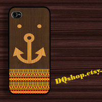 Happy Anchor Bear Aztec Wooden Smile - iPhone 4 Case iPhone 4s Case iPhone 5 Case