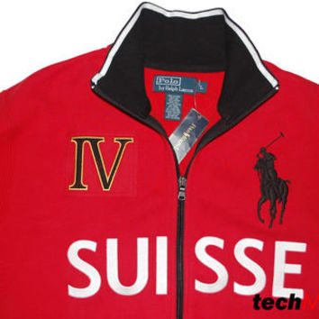 Polo Ralph Lauren SUISSE Track Jacket Fleece Snow Challenge Cup Swiss Big Pony L