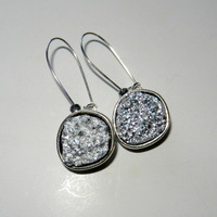 White Druzy and Silver Glass Dangle Earrings