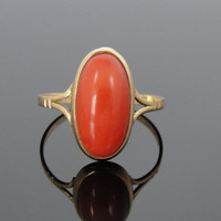Art Nouveau Era Fine Coral Ladies Ring, 18k Gold RGCR202D