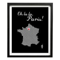 France map oh la la paris 8x10 in or A4(21x29,7 cm) personalized