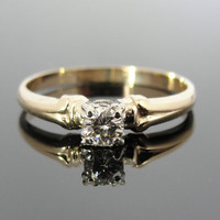 Affordable, High Quality Diamond and Gold Vintage Engagement Ring, RGDI272D