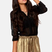 Mink Pink Blades of Glory Gold Shorts