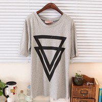 Spring Stylish Overlap Triangle Round Neck Tee