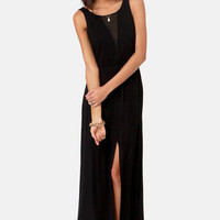 However You Slice It Black Maxi Dress