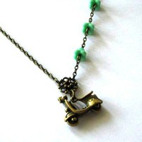 Antiqued Bronze Scooter Necklace With Aqua Green Flowers - Vespa Necklace Jewelry | Luulla